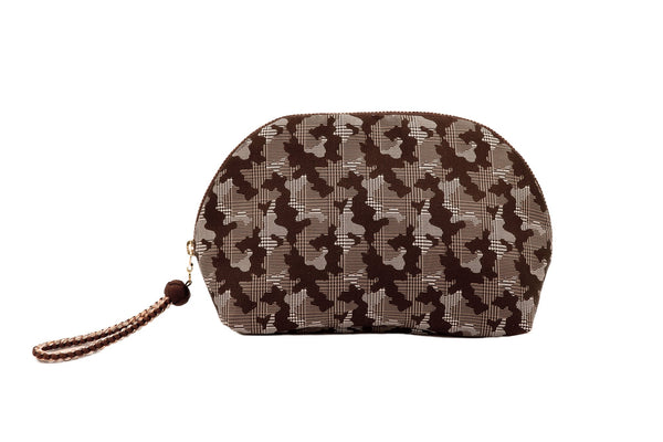 pure silk jacquard camouflage shell-shaped pouch brown front