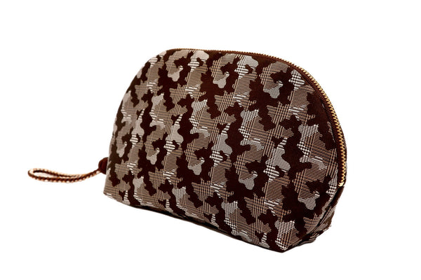 pure silk jacquard camouflage shell-shaped pouch brown tilt