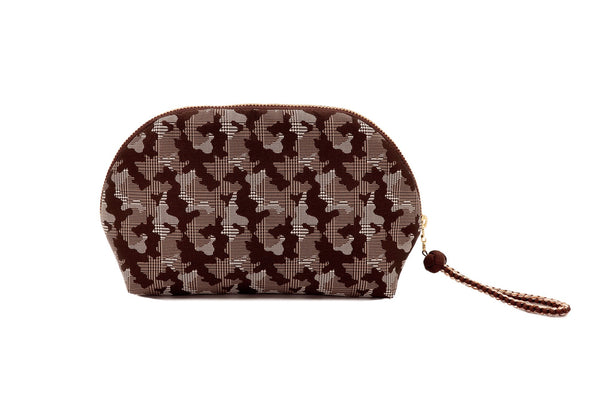 pure silk jacquard camouflage shell-shaped pouch brown back