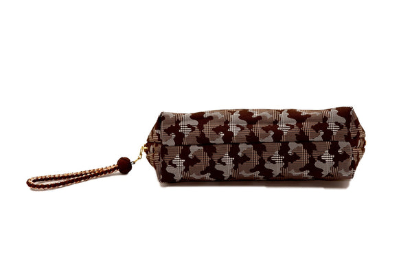pure silk jacquard camouflage shell-shaped pouch brown bottom