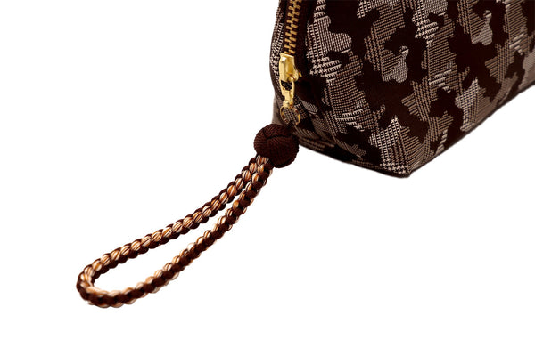 pure silk jacquard camouflage shell-shaped pouch brown pull handle