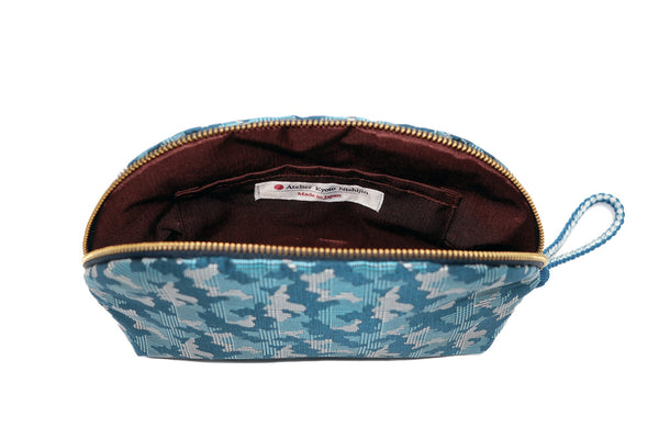 pure silk jacquard camouflage shell-shaped pouch blue inside