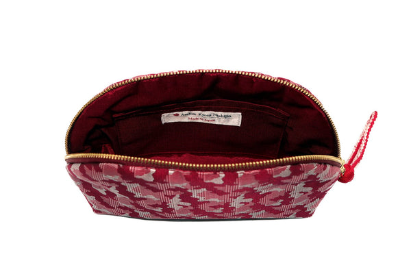 pure silk jacquard camouflage shell-shaped pouch red inside