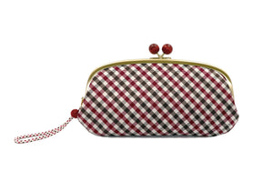 pure silk jacquard gingham check clasp-type long wallet red front