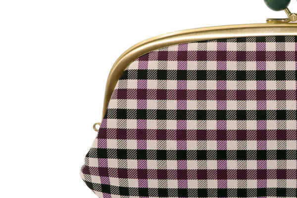 pure silk jacquard gingham check clasp-type long wallet purple strap-hole