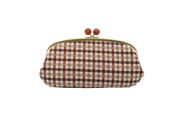 pure silk jacquard gingham check clasp-type long wallet brown front