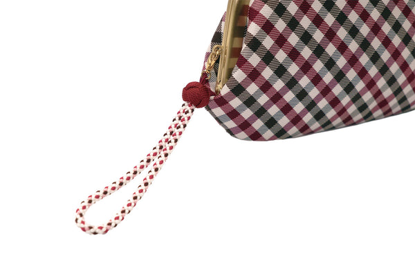 pure silk jacquard gingham check clasp-type long wallet red strap image2