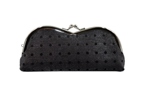 pure silk×sparkling nylon polka dots pile-shaped glasses case black front