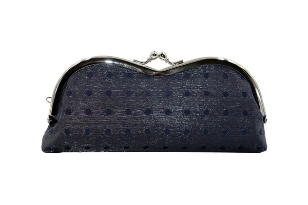 pure silk×sparkling nylon polka dots pile-shaped glasses case navy front