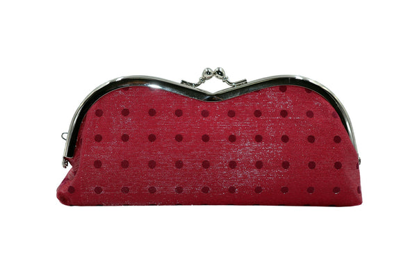 pure silk×sparkling nylon polka dots pile-shaped glasses case red front