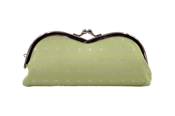 pure silk×sparkling nylon polka dots pile-shaped glasses case , made in Japan