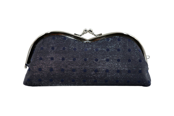 pure silk×sparkling nylon polka dots pile-shaped glasses case navy back