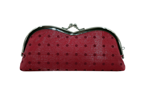 pure silk×sparkling nylon polka dots pile-shaped glasses case red back