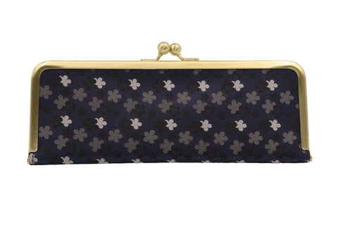 water-repellent Nishijin silk jacquard, antibacterial and antiviral clasp-type mask case, floral pattern, gray, made in Japan