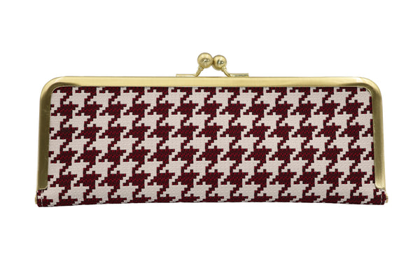 water-repellent Nishijin silk jacquard, antibacterial and antivirus clasp-type mask case, hound's-tooth check red, made in Japan