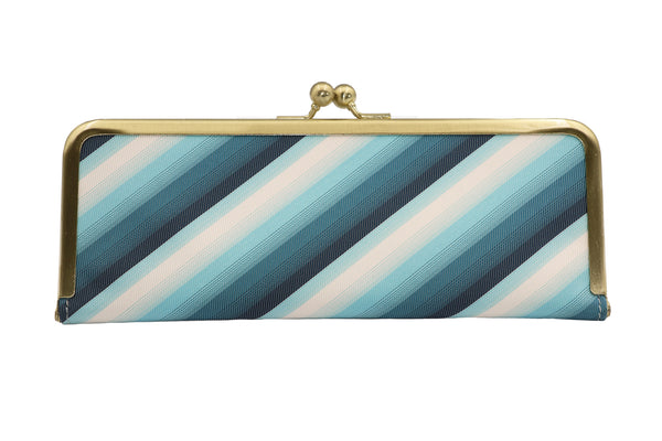 water-repellent Nishijin silk jacquard, antibacterial and antiviral clasp-type mask case, stripe, blue, made in Japan