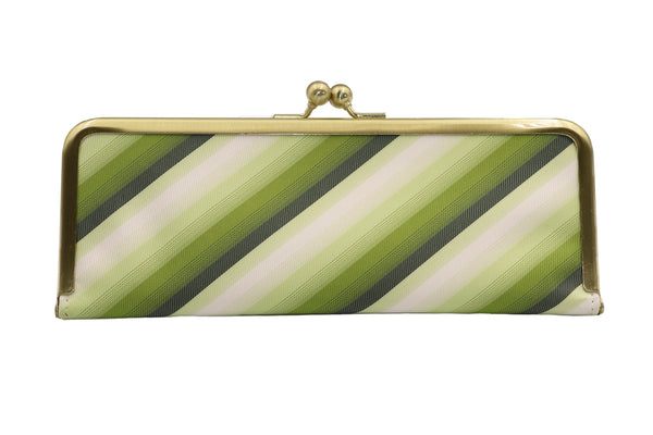 water-repellent Nishijin silk jacquard, antibacterial and antiviral clasp-type mask case, stripe, green, made in Japan