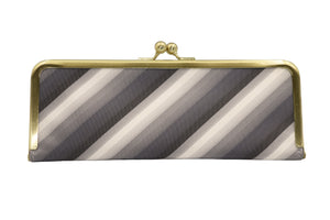 water-repellent Nishijin silk jacquard, antibacterial and antiviral clasp-type mask case, stripe, gray, made in Japan