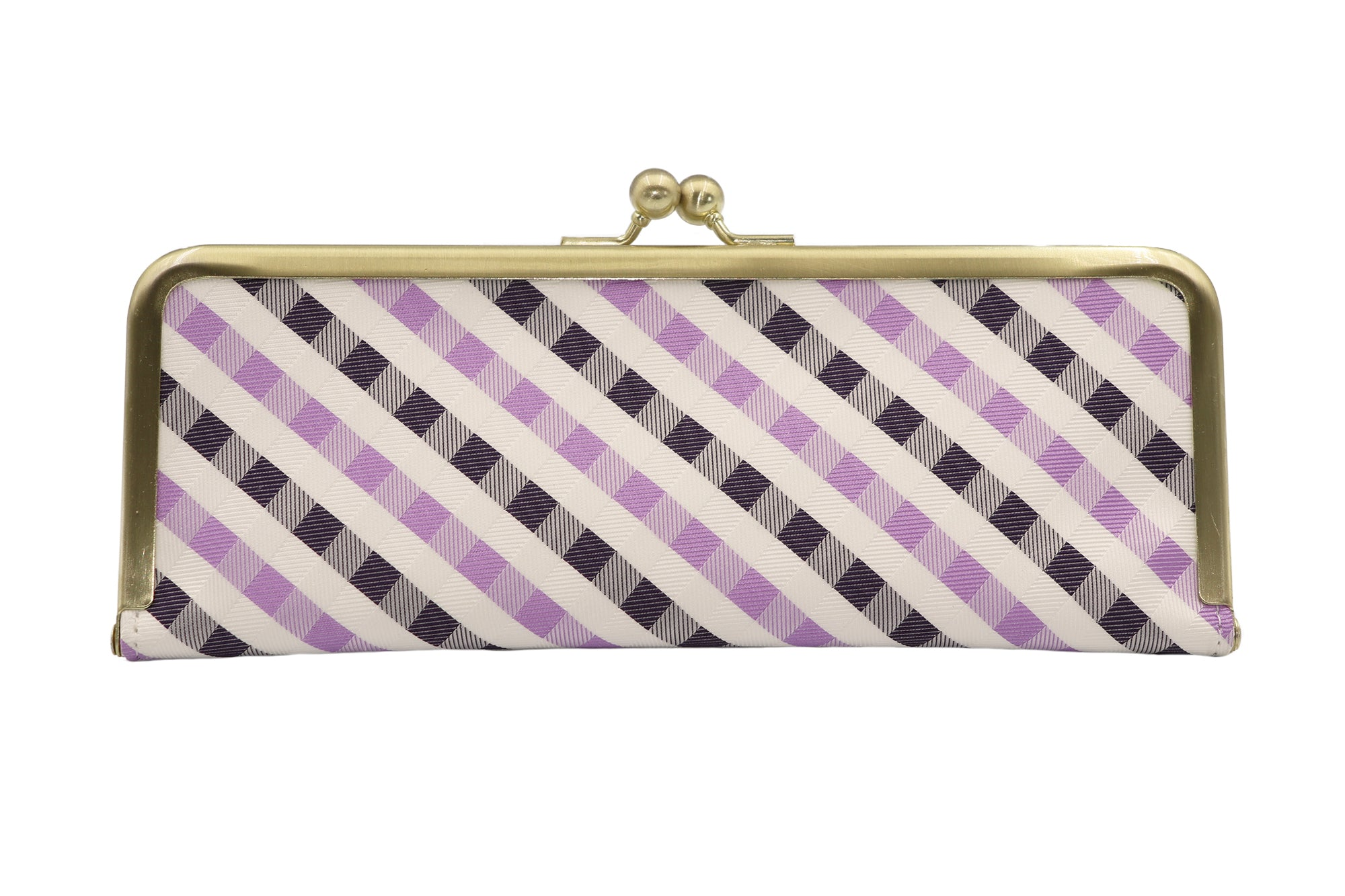 water-repellent Nishijin silk jacquard, antibacterial and antiviral clasp-type mask case, lattice design, purple, made in Japan