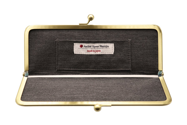 water-repellent Nishijin silk jacquard, antibacterial and antiviral clasp-type mask case, stripe, inside, made in Japan