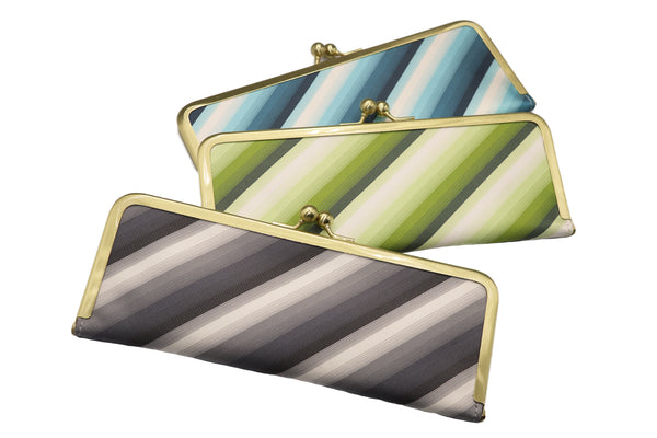 water-repellent Nishijin silk jacquard, antibacterial and antiviral clasp-type mask case, stripe, all image, made in Japan