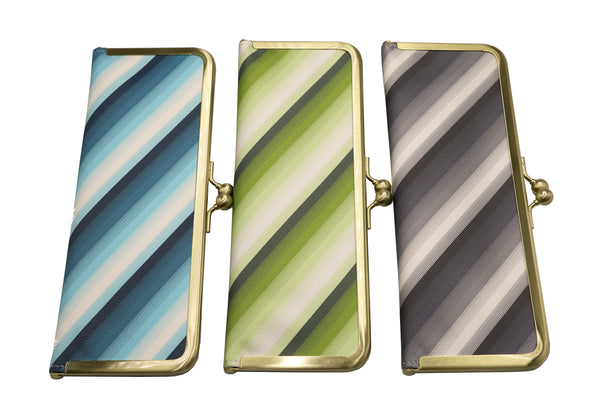 water-repellent Nishijin silk jacquard, antibacterial and antiviral clasp-type mask case, stripe, all image2, made in Japan