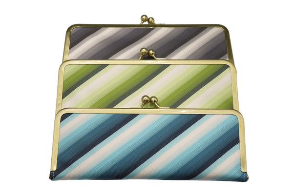 water-repellent Nishijin silk jacquard, antibacterial and antiviral clasp-type mask case, stripe, all image3, made in Japan