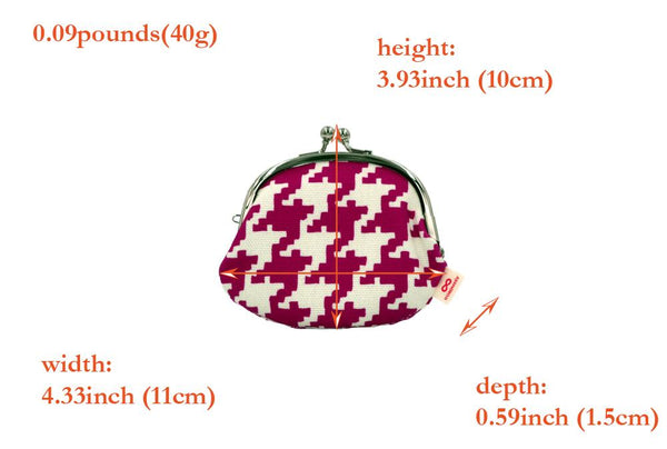 coin purse hound's-tooth check pink spec