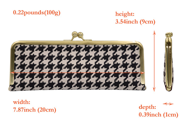 water-repellent Nishijin silk jacquard, antibacterial and antivirus clasp-type mask case, hound's-tooth check spec