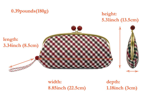 pure silk jacquard gingham check clasp-type long wallet spec