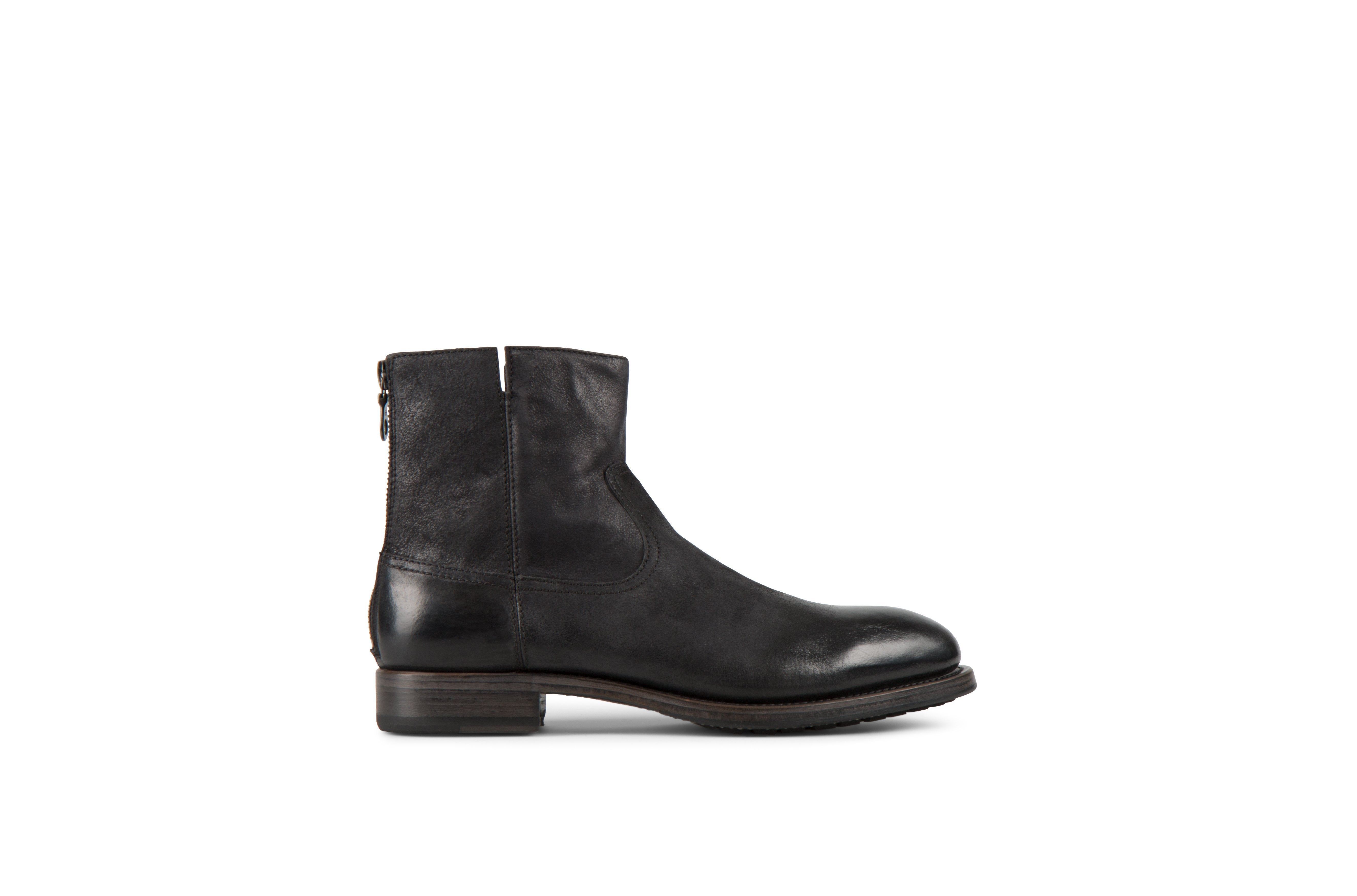 Flame Black Reversed Cordovan Leather Zipper Boots