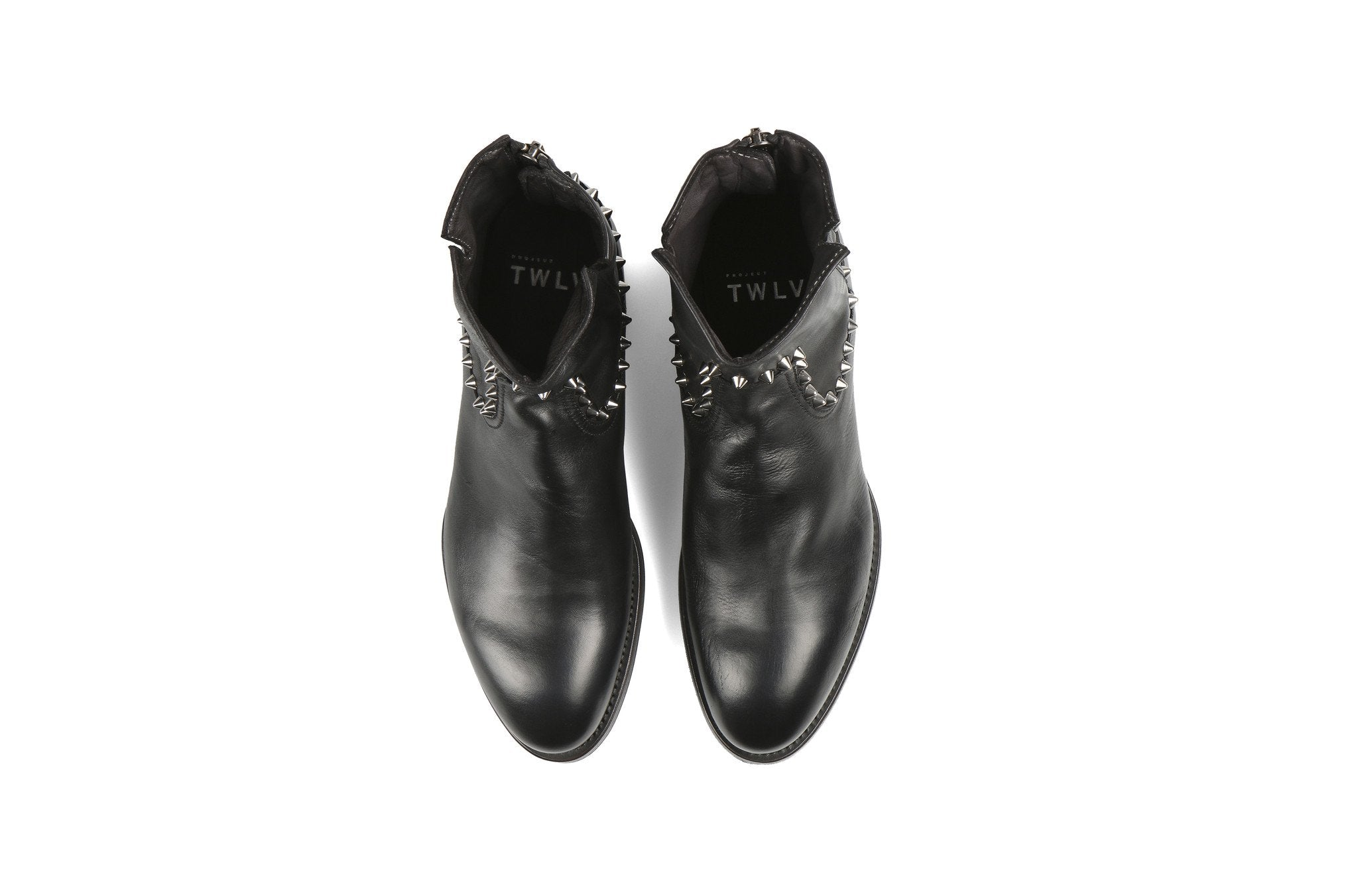 Flame Studs Black Cordovan Leather Zipper Boots