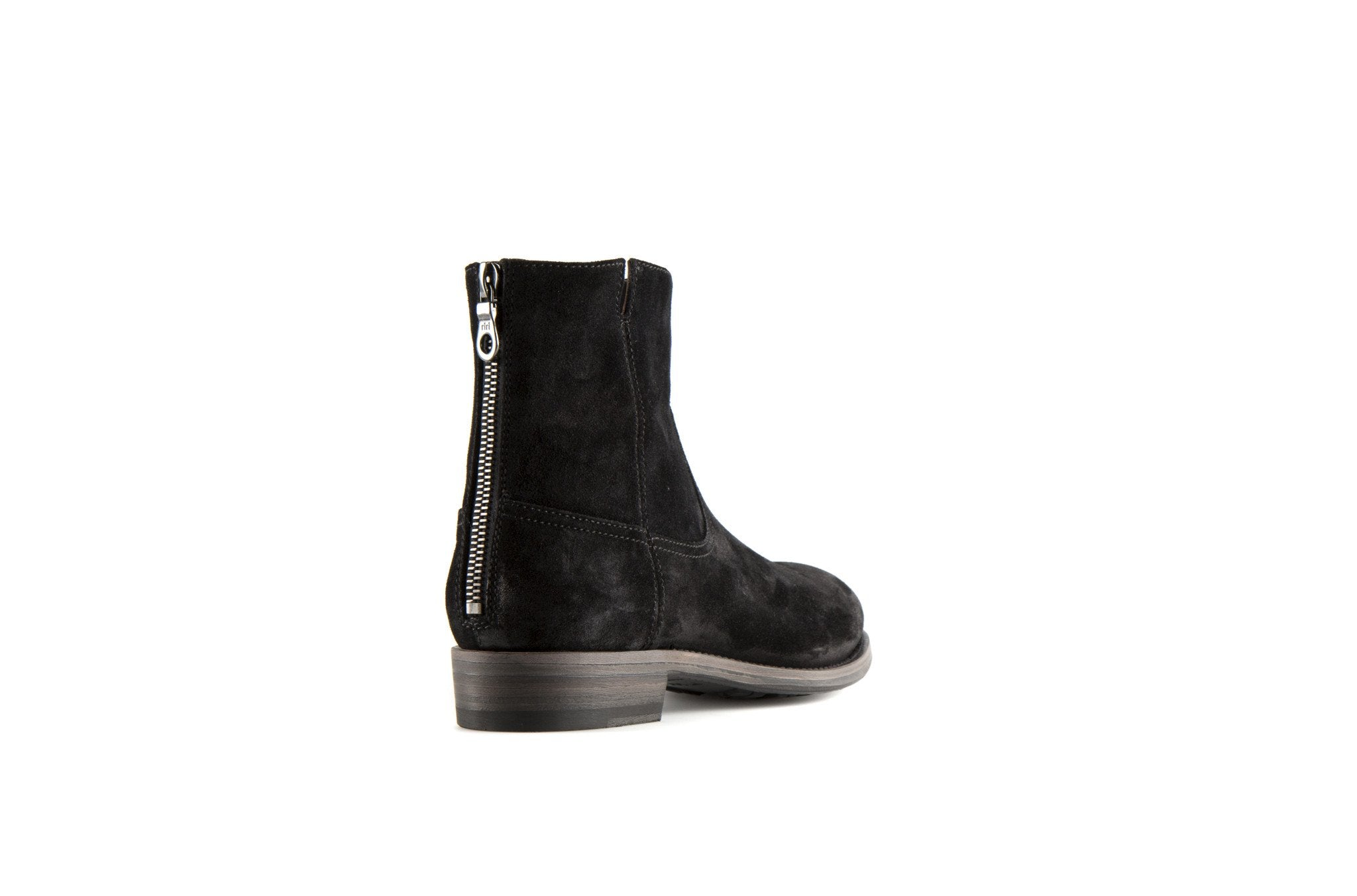 Flame Black Suede Leather Zipper Boots