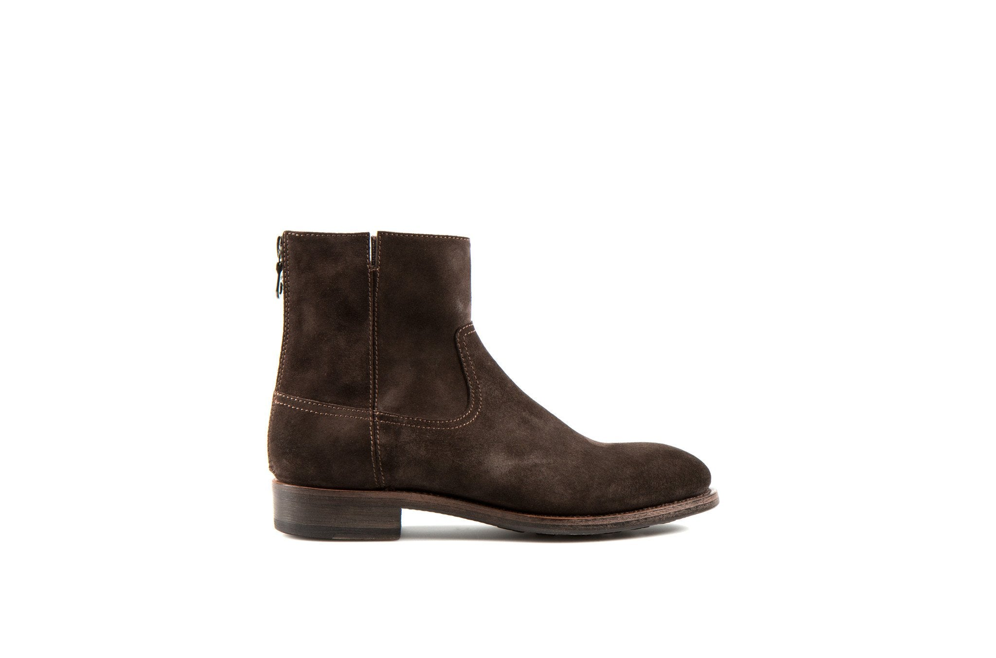 Flame Coffee Suede Leather Zipper Boots