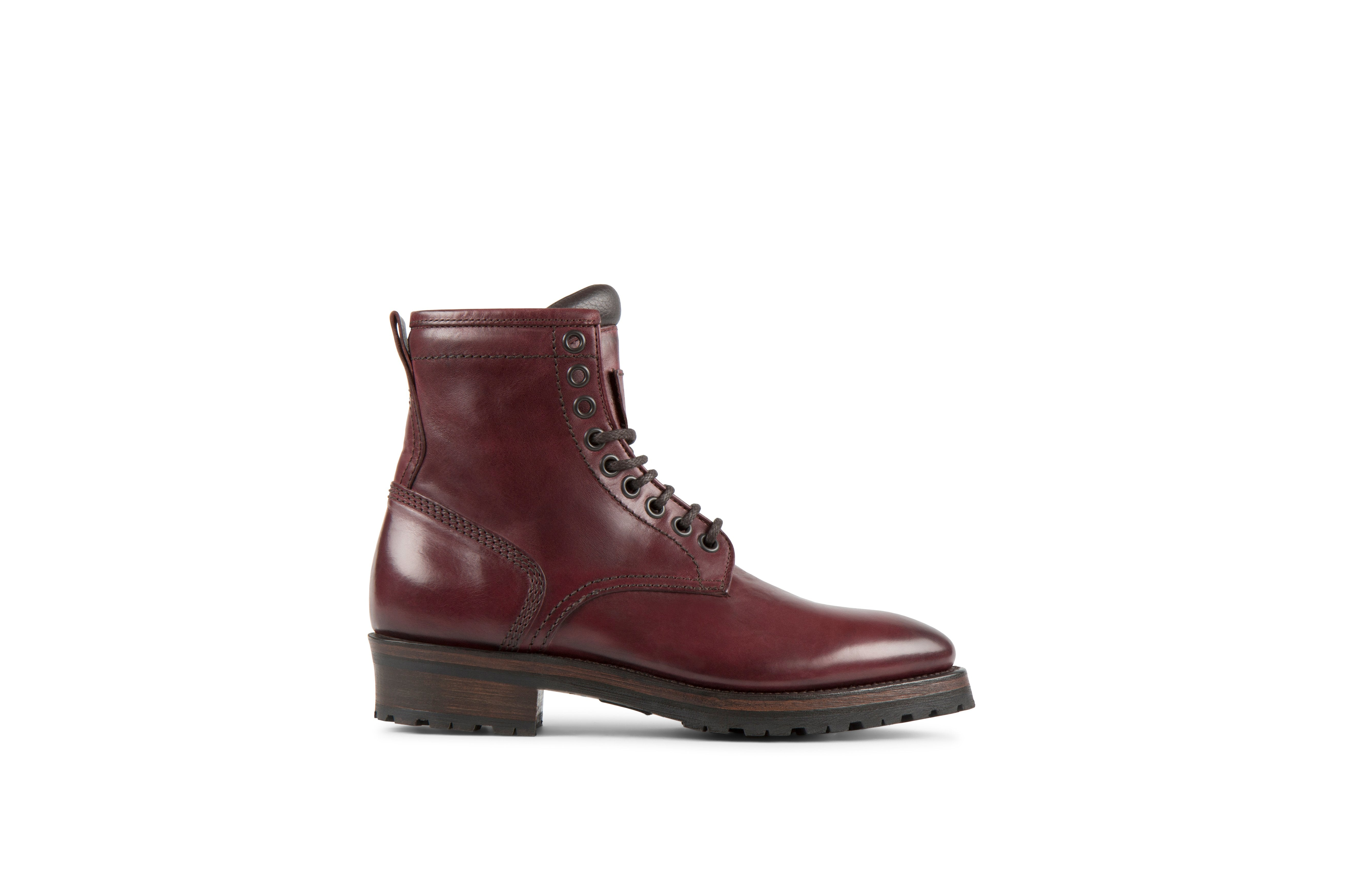 Royal Burgundy Cordovan Leather Logger Boots