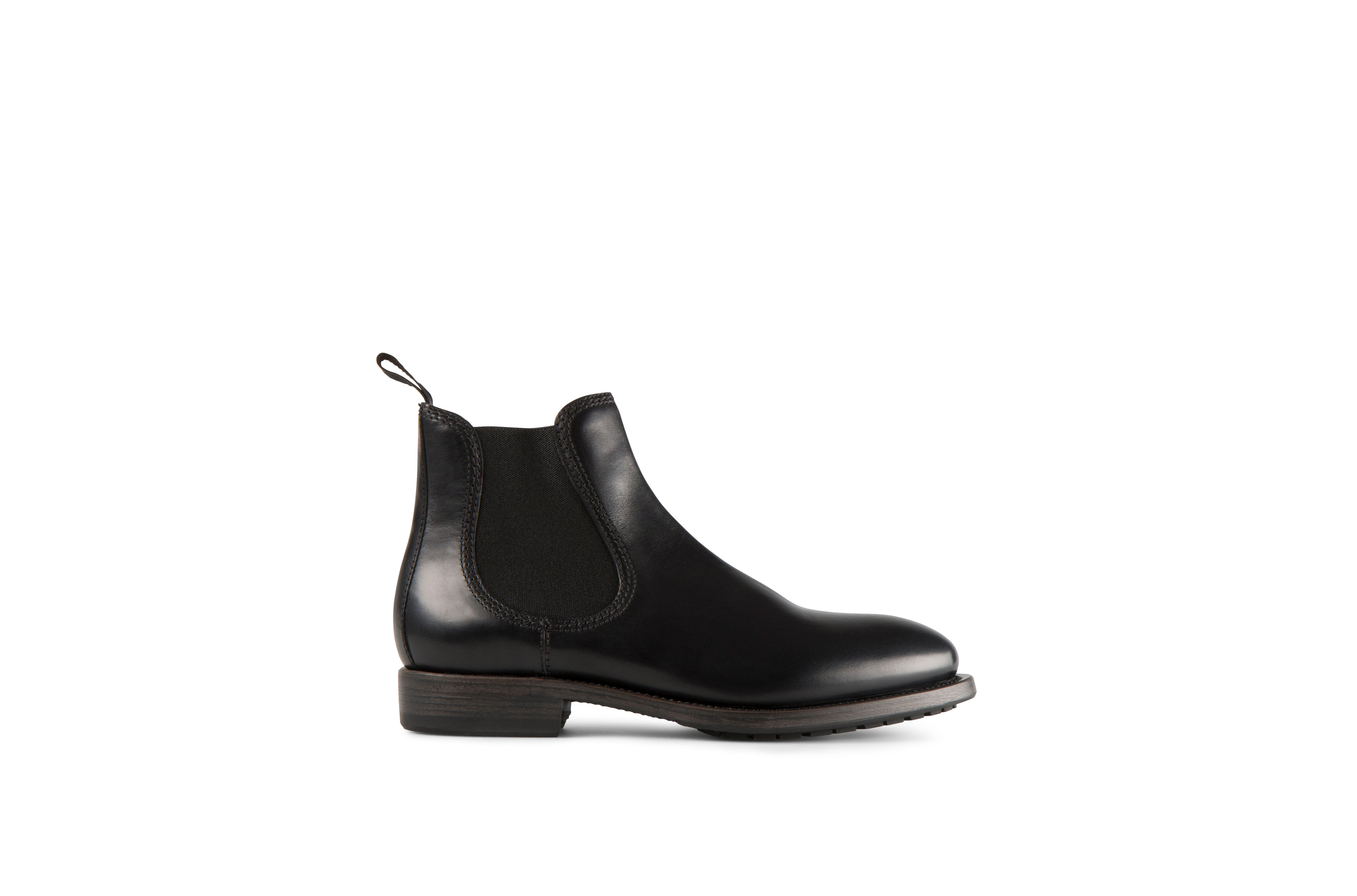 Hanoi Black Cordovan Leather Chelsea Boots