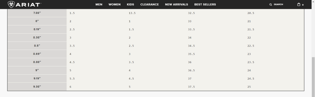 Ariat Kids Boot Size Chart