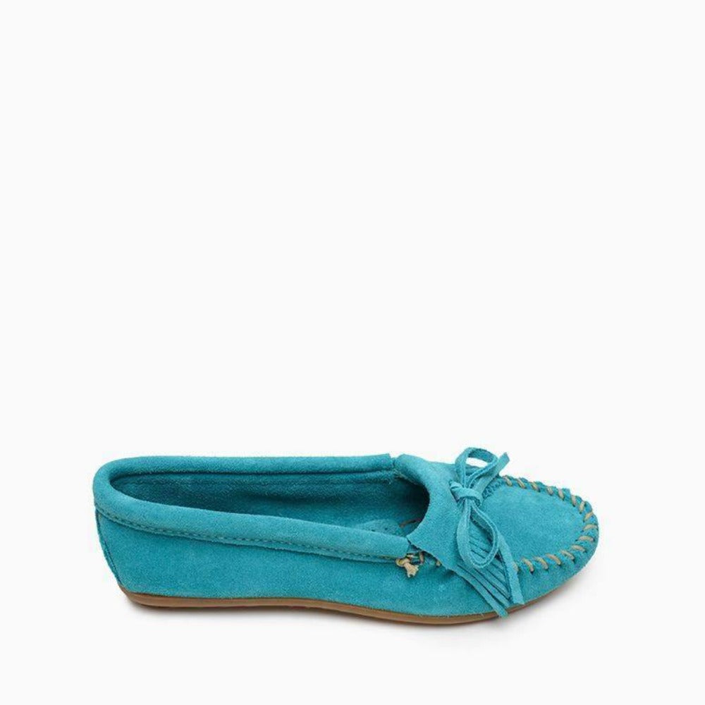 Minnetonka Kilty Moccasins Side View
