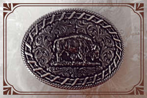Laced up Buffalo Buckle by Montana Silversmiths