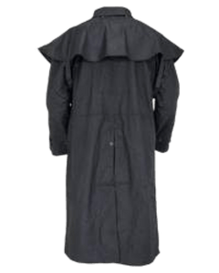 """Oilskin Duster"" by Outback 2042 Black Back View"