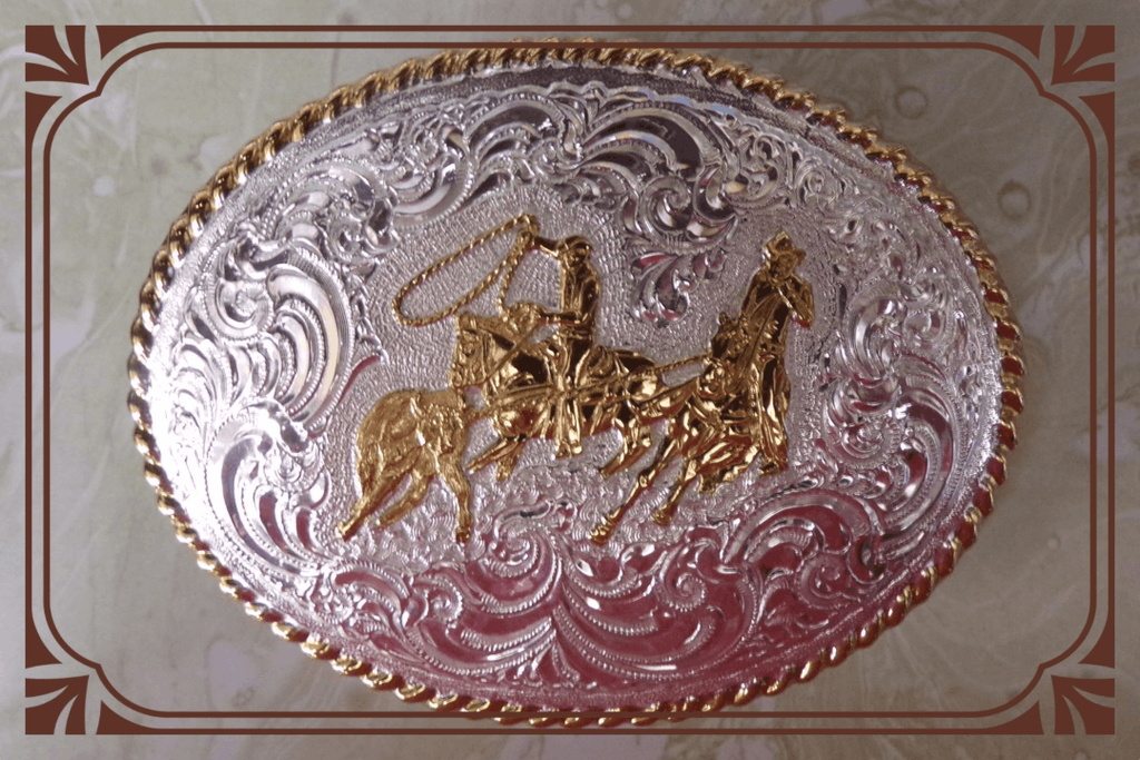 Roping Cattle Buckle by Montana Silversmilth