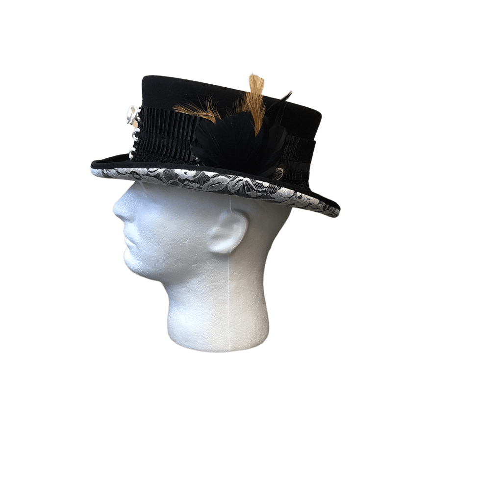 "Steampunk Hat, the ""White Lace Victorian"" by Conner Hats C1062 Side View"