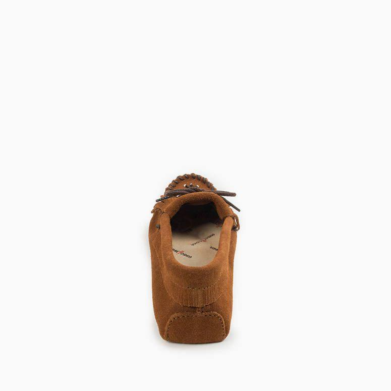 Womens Softsole Moccasins the Thunderbird in Tan by Minnetonka 151 Back View