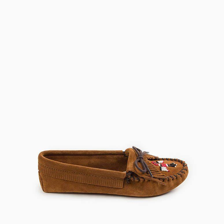 Womens Softsole Moccasins the Thunderbird in Tan by Minnetonka 151 Side View