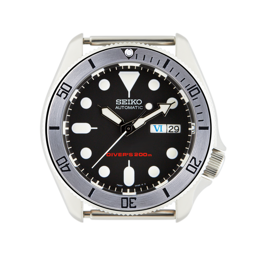 SKX007 SKX009 Steel Bezel Insert Black Bay Steel Style Black