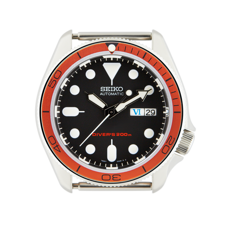 SKX Aluminium Bezel Insert: PO Style Orange Planet Ocean for SKX007/SKX009