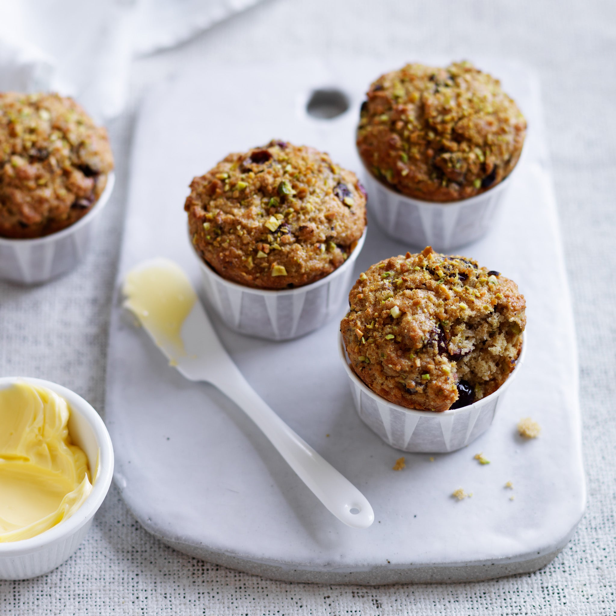 Cranberry pistachio spiced muffins