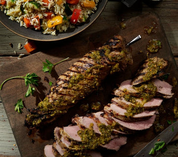 Chimichurri Pork Tenderloin with Warm Rice Salad