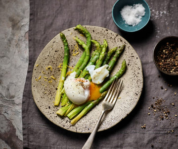 Sous vide asparagus with poached eggs