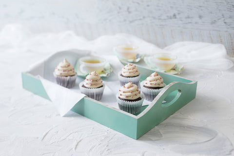 Chocolate cupcakes with vanilla coconut icing